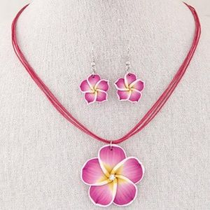 Jewelry - Hawaiian Plumeria Flower Necklace  and Earring Set